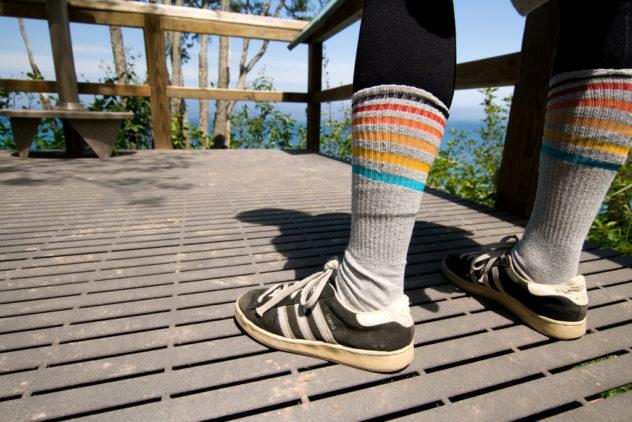 Socks, sneakers, tights